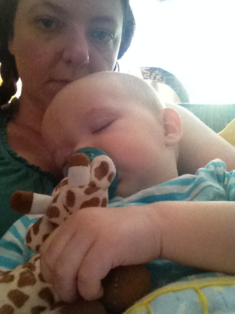 Sick baby snuggles.