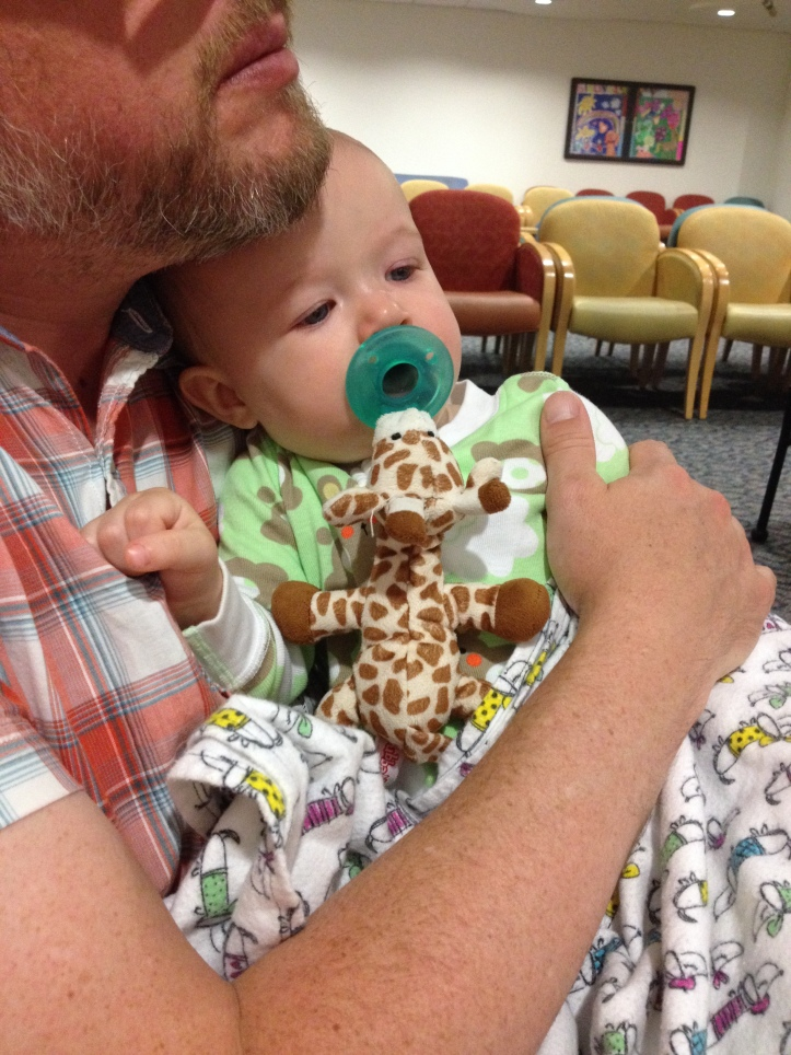 More sick baby snuggles, in the waiting room.